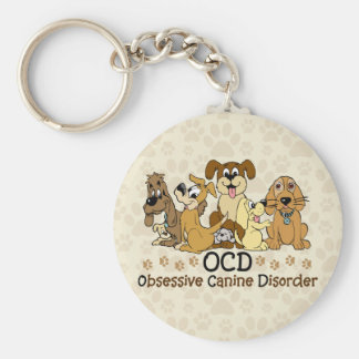 OCD Obsessive Canine Disorder Basic Round Button Keychain