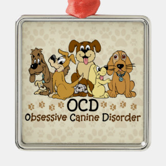 OCD Obsessive Canine Disorder Square Metal Christmas Ornament