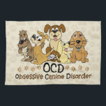 """OCD Obsessive Canine Disorder Towel<br><div class=""""desc"""">7 colorful dogs in different colors. Funny dog spoof / parody to obsessive compulsive disorder. For dog lovers and and dog fostering / dog sitting / dog walkers. Do they call you the crazy dog lady / man? Or know anyone who is or could be?</div>"""
