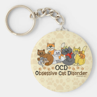 OCD Obsessive Cat Disorder Basic Round Button Keychain