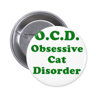 OCD Obsessive Cat Disorder Pinback Buttons