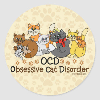OCD Obsessive Cat Disorder Classic Round Sticker