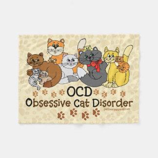OCD Obsessive Cat Disorder Fleece Blanket