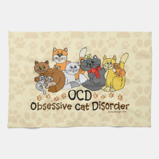OCD Obsessive Cat Disorder Hand Towels