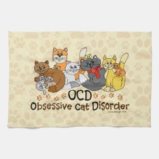 OCD Obsessive Cat Disorder Hand Towels