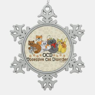 OCD Obsessive Cat Disorder Snowflake Pewter Christmas Ornament