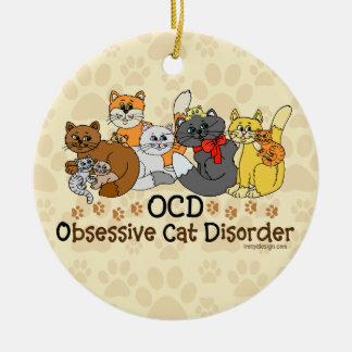 OCD Obsessive Cat Disorder Round Ceramic Ornament