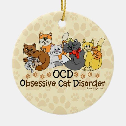 OCD Obsessive Cat Disorder Ornaments