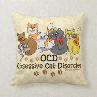 OCD Obsessive Cat Disorder Throw Pillows