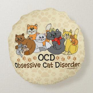 OCD Obsessive Cat Disorder Round Pillow