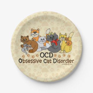 OCD Obsessive Cat Disorder 7 Inch Paper Plate