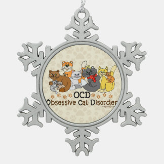 OCD Obsessive Cat Disorder Snowflake Pewter Christmas Ornament