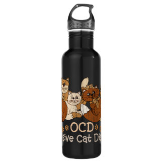 OCD Obsessive Cat Disorder Stainless Steel Water Bottle