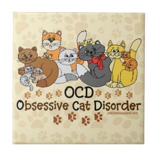 OCD Obsessive Cat Disorder Tile