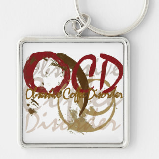 OCD - Obsessive Coffee Disorder Gifts Silver-Colored Square Keychain