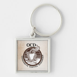 OCD: Obsessive Coffee Disorder Silver-Colored Square Keychain