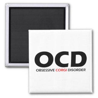 OCD - Obsessive Corgi Disorder 2 Inch Square Magnet