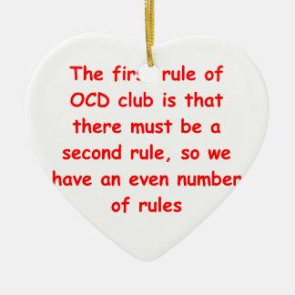 ocd Double-Sided heart ceramic christmas ornament