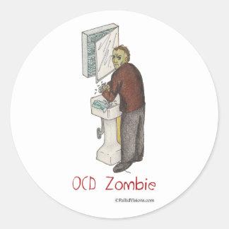 OCD Zombie Round Stickers