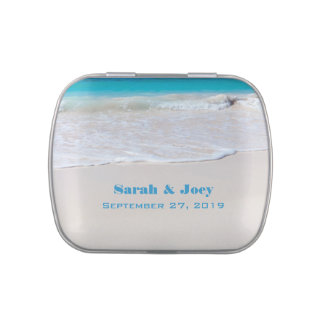 Ocean and Beach Sand Tropical Wedding Favor Tins Jelly Belly Candy Tins