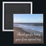"Ocean and Beach Theme Magnet<br><div class=""desc"">Ocean and beach theme items for your wedding, party, graduation or other special event. I have matching Save the Date cards, invitations, RSVP cards, postage stamps, and address labels... ... .everything to help create a coordinated beginning for your special event. Thank those who helped celebrate your special day with matching...</div>"