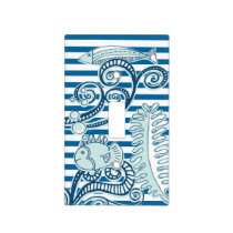 Ocean and Fish Blue and White Horizontal Stripe Light Switch Cover