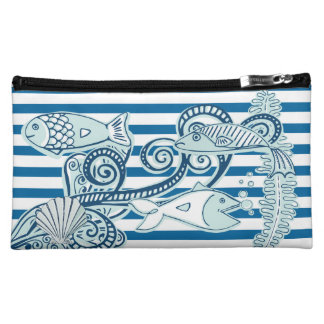 Ocean and Fish Blue and White Stripe Bag