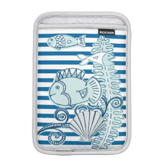 Ocean and Fish Blue and White Stripe iPad Mini Sleeves
