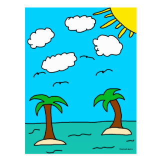 Ocean and Palm Tree Postcards
