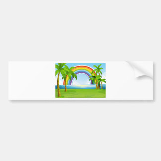 Ocean and rainbow bumper sticker