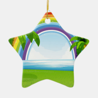 Ocean and rainbow ceramic ornament