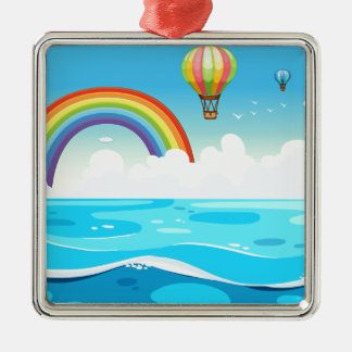 Ocean and rainbow metal ornament