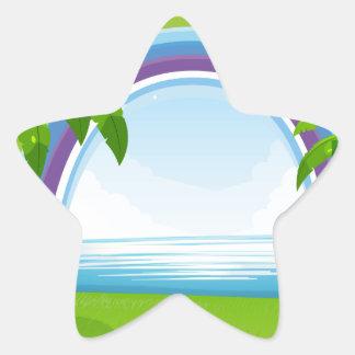 Ocean and rainbow star sticker