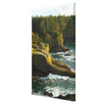 Ocean and rocky shore of remote area stretched canvas prints