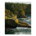 Ocean and rocky shore of remote area print