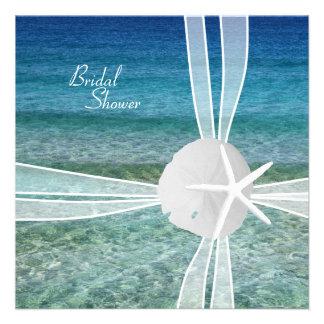 Ocean and Starfish Bridal Shower Square Invitation