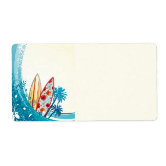 Ocean and Surf Board Label