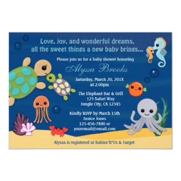 MonkeyHutDesigns Ocean Animals Bubbles Baby Shower Invitations