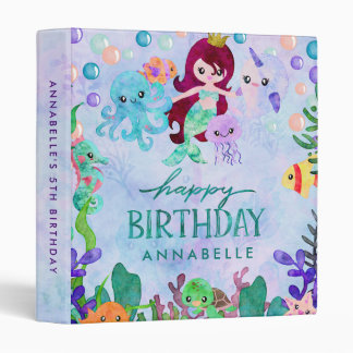 Ocean Animals Mermaid Theme Birthday Scrapbook Binder