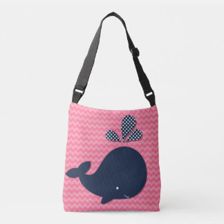 Ocean Animals Navy Whale on Pink Chevron Tote Bag
