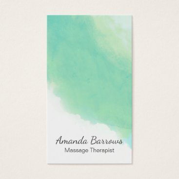 Beach Themed Ocean Aqua Blue Abstract Watercolor Business Card