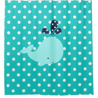 Ocean Aqua Whale on Turquoise Polka Dots Shower Curtain