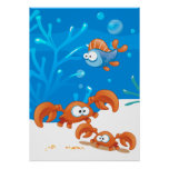 Ocean Aquatic  Cute Crab Funny Fish Poster