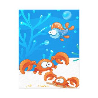 Ocean Aquatic  Cute Crab Funny Fish Wrapped Canvas