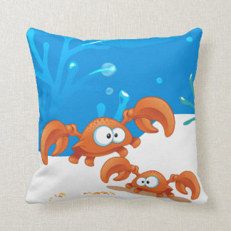 Ocean Aquatic Cute Crab Pillow Throw Pillow