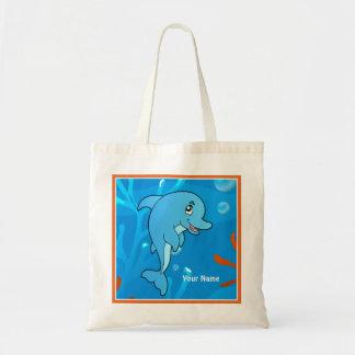 Ocean Aquatic Cute Dolphin Custom Tote Budget Tote Bag