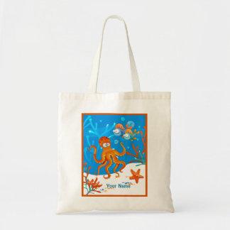 Ocean Aquatic Cute Octopus Fish Custom Tote Canvas Bag