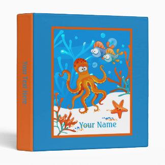 Ocean Aquatic Cute Octopus Starfish Custom Binder