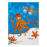 Ocean Aquatic Cute Octopus Starfish Kids Room Poster