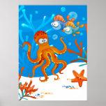 Ocean Aquatic Cute Octopus Starfish Kids Room Poster